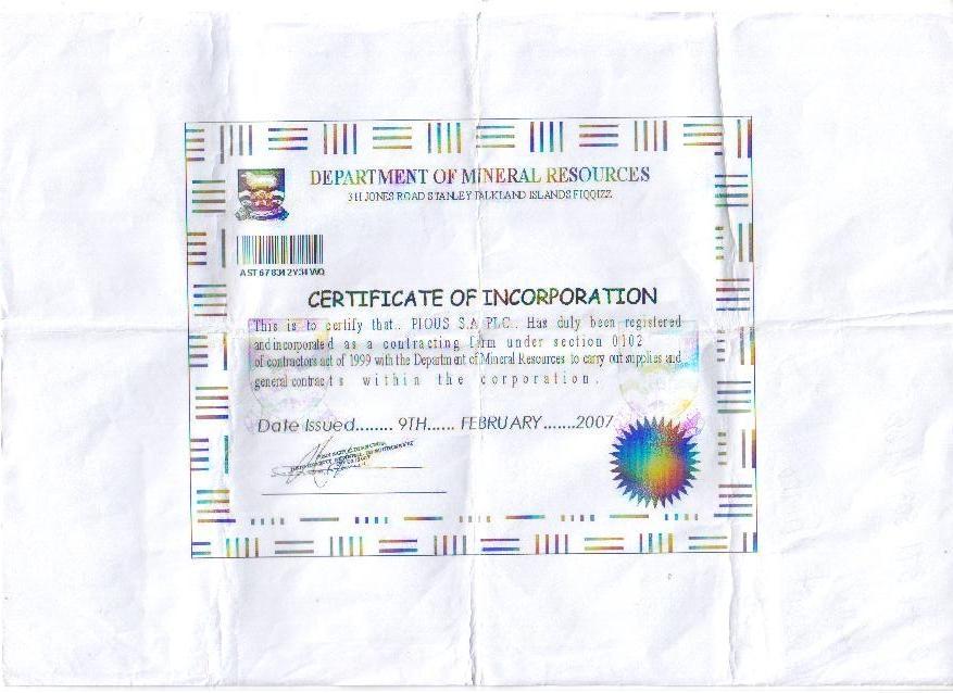 Corporation Certificate
